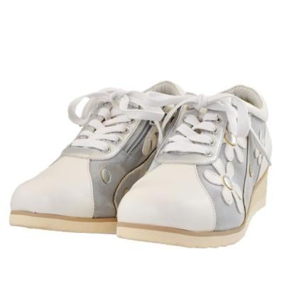 レディース 靴 カジュアルシューズ マドラス シティーゴルフ ファスナー付き チュール入り 軽量 ウェッジソール 幅広 4E 送料無料 ホワイトコンビ GFL1502WHTC