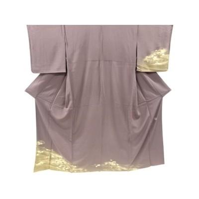 宗sou TOKI志すい 金彩箔置流水に雲模様一つ紋単衣訪問着【リサイクル】【着】