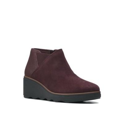 クラークス ブーツ&レインブーツ シューズ レディース Women's Collection Mazy Harwich Boots Burgundy Suede Interest Combination