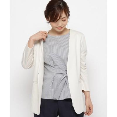 ジャケット ノーカラージャケット 【洗える】Vネックノーカラージャケット