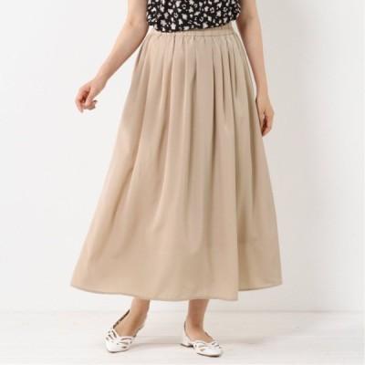 ウエストゴムで調節しやすい◎サテンギャザースカート ベージュ M L