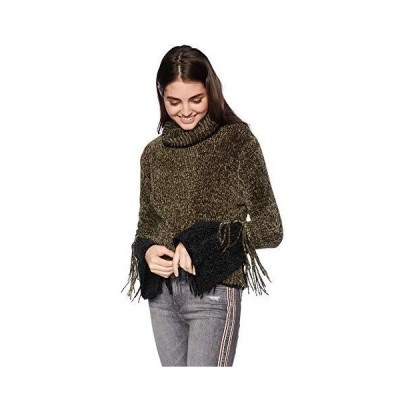 Angie Women's Chenille Pullover Sweater with Two-Tone Fringe Detail, Olive,