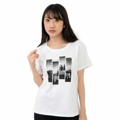 レディース フォト デザイン 半袖Tシャツ ホワイト ブラック 杢グレー ルームウェア としてもおすすめ