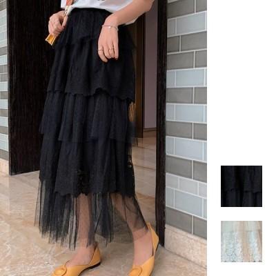 韓国 ファッション レディース スカート ボトムス 秋 冬 春 カジュアル 刺繍レース スカラップ チュールドット naloG398 20代 30代 40代