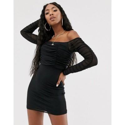 パブリックデザイア レディース ワンピース トップス Public Desire bardot mini dress with ruching Black