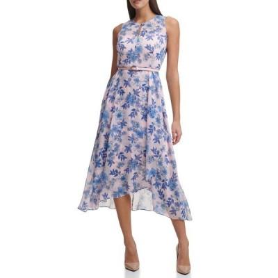 トミー ヒルフィガー レディース ワンピース トップス Sleeveless Asymmetrical Belted Delphos Garden Chiffon Maxi Dress BAL PNK ML