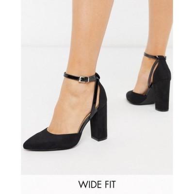 トゥラッフル レディース ヒール シューズ Truffle Collection wide fit pointed block heeled shoes in black Black