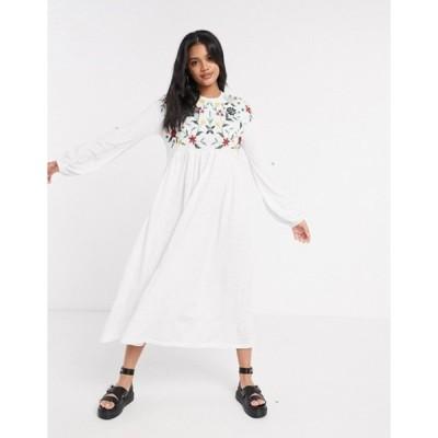 エイソス レディース ワンピース トップス ASOS DESIGN embroidered smock midi dress with lace up back in white