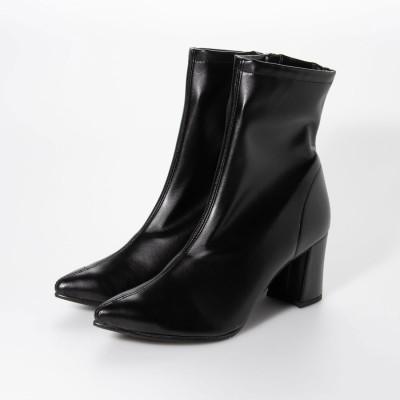 シューファンタジー Shoe Fantasy ストレッチショートブーツ (blackスムース) (ブラック)