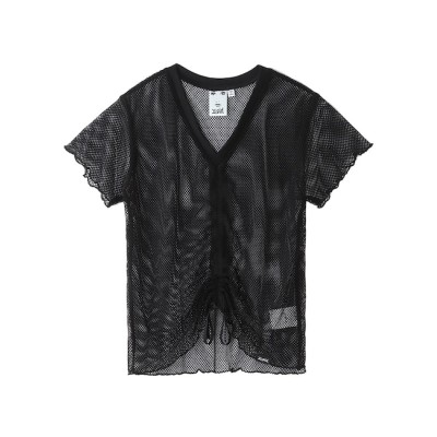 【エックスガール/X-girl】 MESH SHIRRED S/S TOP