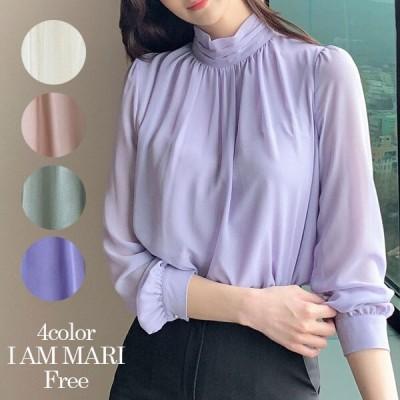 [iammari] Curit キュリット シャーリング シフォン ブラウス(S~M)私はマリ/韓国ファッション/ブラウス春/ブラウス/トップス/韓国風/シャリング/オフィス/パステル 春