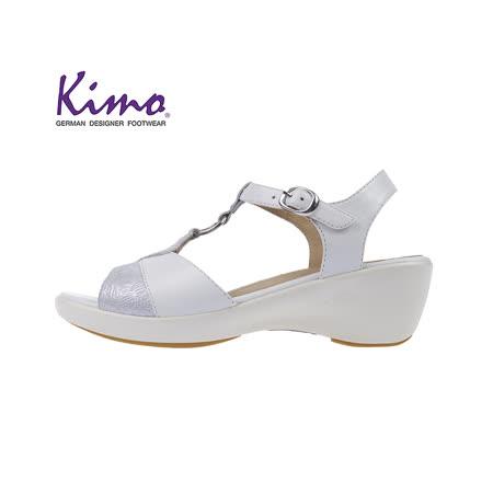 【Kimo 德國品牌健康鞋】葉紋風設計款楔型涼鞋(純淨白KAISF051210)