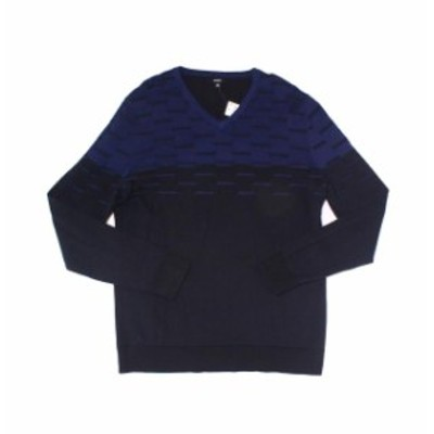Alfani  ファッション トップス Alfani NEW Blue Mens Size Small S Dash Colorblock V-Neck Sweater