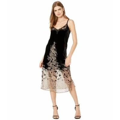 ザ・クープルス レディース ワンピース トップス Maxi, Slip, Velvet Dress with Lace Neckline and Burnout Floral Print on Skirt Blac