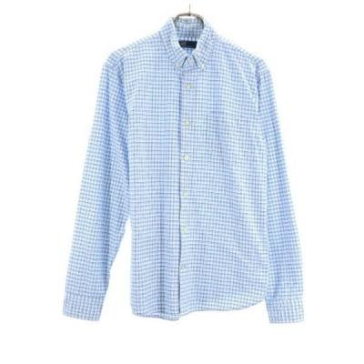 ギャップ チェック柄 長袖 ボタンダウンシャツ M 青系×白 GAP メンズ 古着 200805 メール便可 wg9-1026