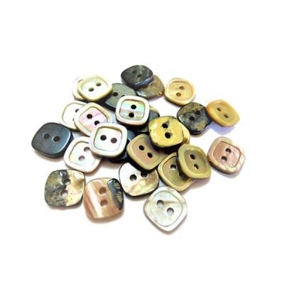 ボタン 手芸 素材 茶蝶貝 四角 対角線の長さ 茶色系 12mm 2つ穴 縁あり 貝ボタン 12個入り