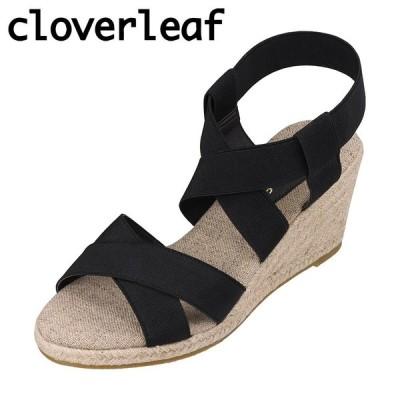 クローバーリーフ cloverleaf CL-134 レディース | サンダル | ウェッジソール | ゴムバンド フィット感 | ブラック