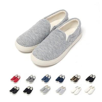 厚底 スリッポン 靴 スニーカー シューズ キルティング キャンバス スエット 全12色