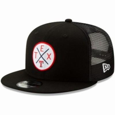 New Era ニュー エラ 帽子 キャップ New Era Texas Rangers Black Vert Trucker 9FIFTY Adjustable Snapback Hat