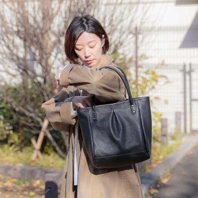 A4対応ワンプリーツレザートートバッグ/ベーカリー(カンミ/Kanmi)