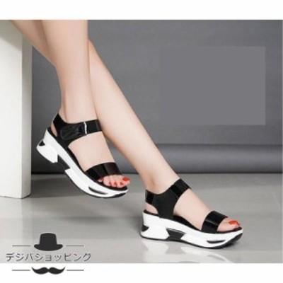 オシャレ オープントゥ あつぞこ靴 令和 サンダル レディース 5.5cmヒール 無地 カジュアル 履きやすい 美脚 ゴムフィット レディース靴