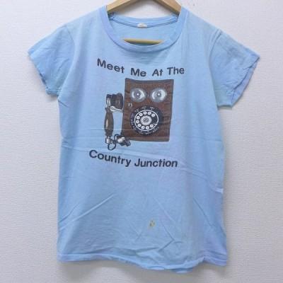 M/古着 半袖 ビンテージ Tシャツ 80s 電話 コットン クルーネック 水色 20jul16 中古 メンズ