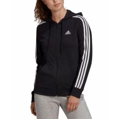 アディダス レディース ジャケット・ブルゾン アウター Women's Essentials Full-Zip 3 Stripes Hoodie Black