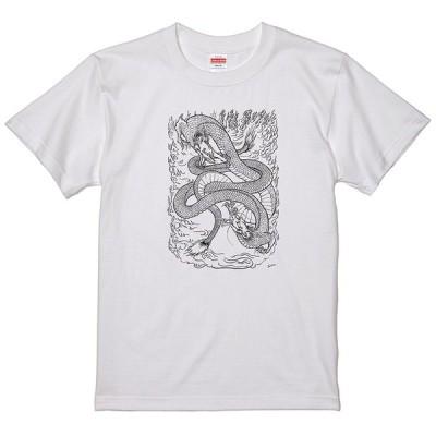 和柄 ドラゴン 龍 Tシャツ 和風 浮世絵 タトゥー 刺青