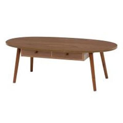 センターテーブル 幅110cm ローテーブル 机 木製 収納 引き出し リビング テーブル 楕円 ブラウン