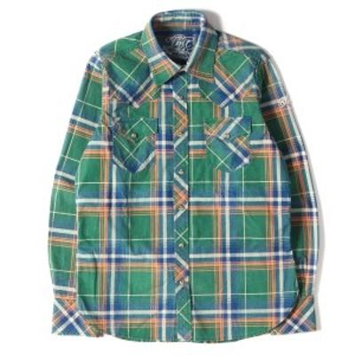 TMT ティーエムティー シャツ インディゴチェック ウエスタンシャツ L/SL INDIGO CHECK SHIRT 15SS グリーン×インディゴ S 【メンズ】【