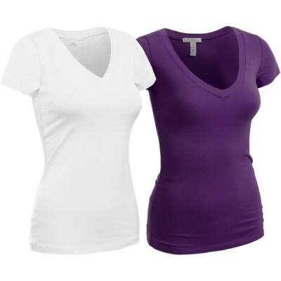 レディース 衣類 トップス Essential Basic Women's Plain Short Sleeve V Neck T Shirts - 2Pk - Wht Purple S グラフィックティー