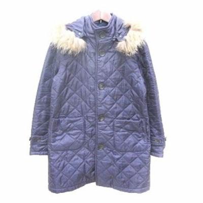 【中古】ザ スモックショップ THE SMOCK SHOP キルティングジャケット 中綿 ファー S 紫 パープル /YK レディース
