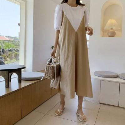 春夏 ドレス ロングドレス ワンピース 半袖 ラウンドネック ゆったり バイカラー カジュアル お呼ばれ リゾート
