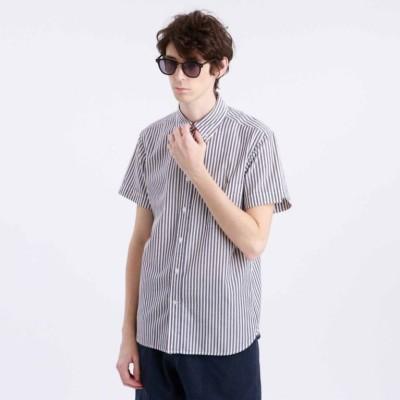 綿麻チェック/ストライプ半袖シャツ