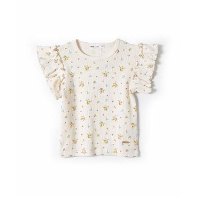 【べべオンラインストア】 フラワー 花柄 ワッフル素材 半袖 Tシャツ  (80~130cm) キッズ イエロー系 110cm BEBE ONLINE STORE