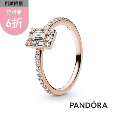 【Pandora官方直營】方形寶石璀璨光環戒指