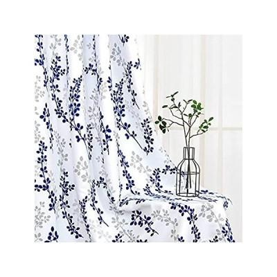 Th3mys 木の葉 花柄ウィンドウカーテン リビングルーム ダイニングルーム 断熱遮光カーテン 寝室用 グロメットトップ 2パネル 52 x 84イ