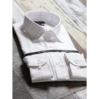 綿100%形態安定スリムフィット ワイドカラー長袖ビジネスドレスシャツ/ワイシャツ