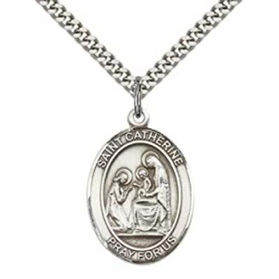 """スターリングシルバー聖Catherine of Siena Pendant with 24?""""ステンレススチールHeavy Curbチェーン。火災予防の守護者"""