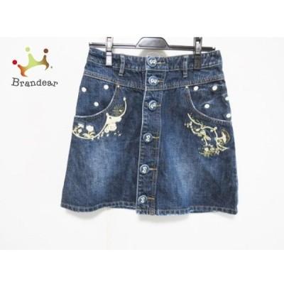 フランシュリッペ スカート サイズS レディース ネイビー×ゴールド×マルチ デニム/刺繍/リボン       スペシャル特価 20200501