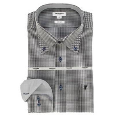 形態安定吸水速乾スリムフィット ボタンダウン長袖ビジネスドレスシャツ/ワイシャツ