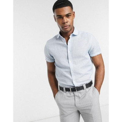エイソス ワークシャツ メンズ ASOS DESIGN regular fit linen shirt with penny collar in blue with short sleeve エイソス ASOS ブルー 青