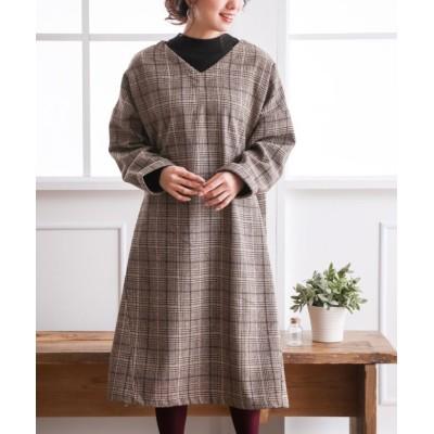 グレンチェックVネックワンピース (ワンピース)Dress