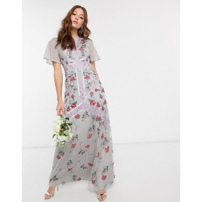 マヤ マキシドレス レディース Maya Bridesmaid all over floral embellished fluted sleeve maxi dress in silver エイソス ASOS グレー 灰色