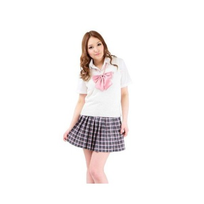 平成女学園 1着 女子制服 白ニットベスト ピンクチェック柄ミニスカート コスプレ衣装