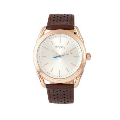 シンプリファイ レディース 腕時計 アクセサリー Quartz The 5900 Rose Gold Case Genuine Brown Leather Watch 43mm