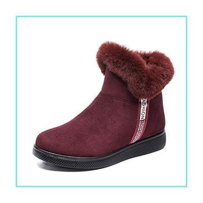 【新品】Womens Winter Snow Boots Faux Fur Lining Ankle Short Booties Suede Leather Velour Cuff Sock Knit Boots Bling Party Shoes Outdoor