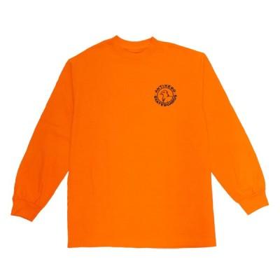 アンタイヒーロー アンチヒーロー 長袖 Tシャツ オレンジ スケート メンズ レディース ANTIHERO BASIC PIGEON ROUND L/S T-SHIRT ORANGE/BLACK PRINT
