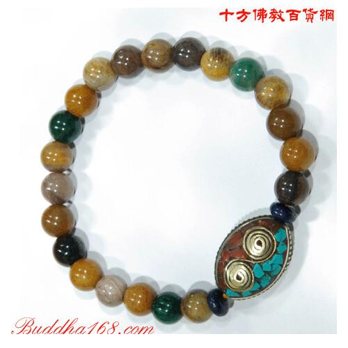 西藏手工銅珠&木化石手珠+精美加持保平安小佛卡8mm