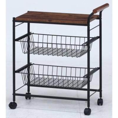 キッチンワゴン キャスター付き 2段 テーブル 天板 木製 スリム おしゃれ 作業台 安い コンパクト キッチン ワゴン 幅30 ロータイプ アイアン